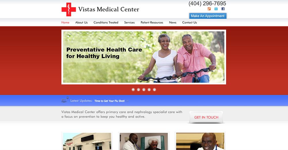 image of home page for Vistas Medical   Definitive Medical Marketing