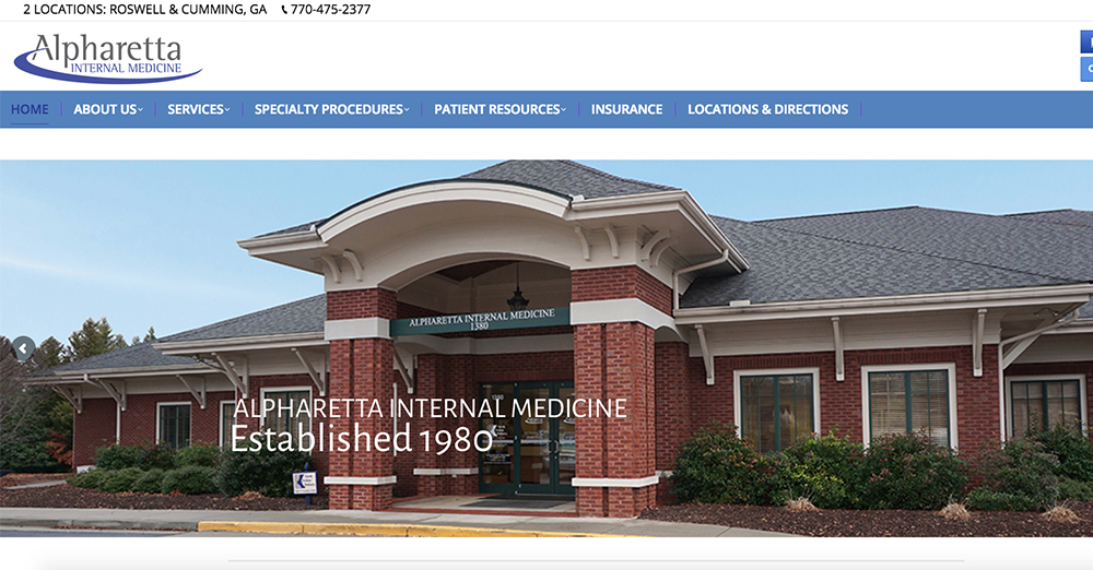 image of the home page of Alpharetta Internal Medicine