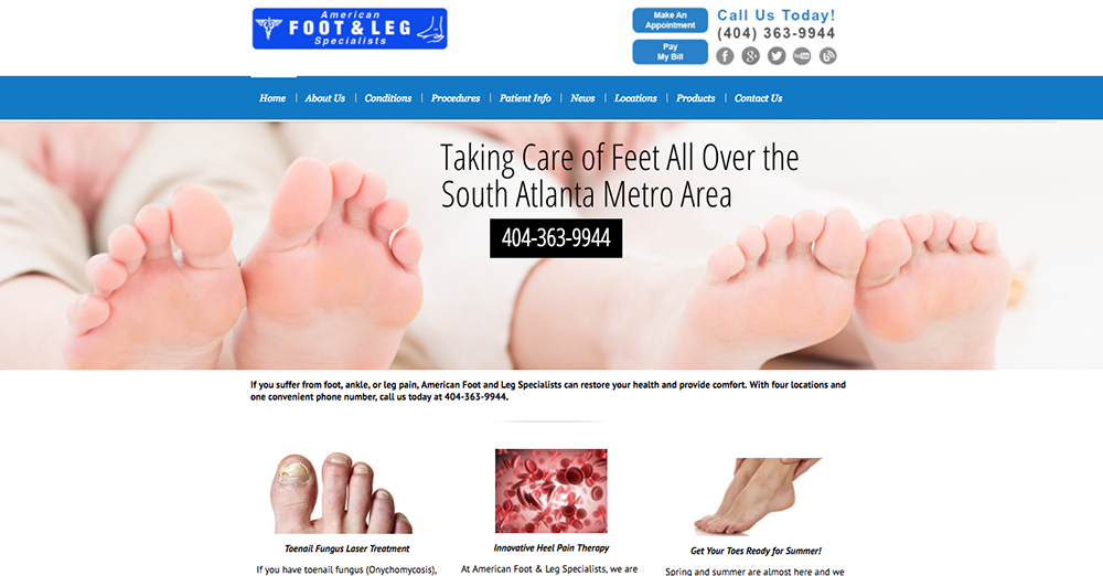 image of home page for American Foot and Leg Specialists | Definitive Medical Marketing