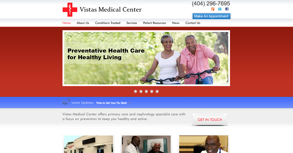 image of home page for Vistas Medical | Definitive Medical Marketing