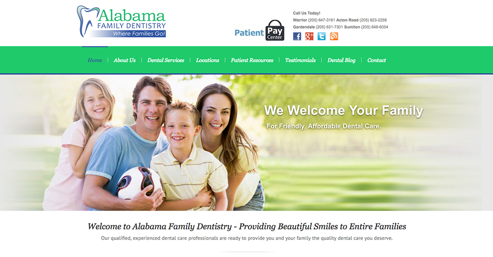 image of the home page of Alabama Family Dentistry