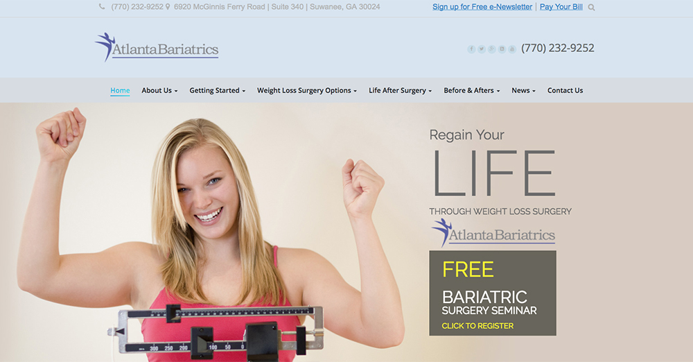 image of the home page for Atlanta Bariatrics website