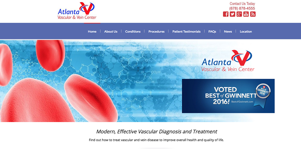image of home page of Atlanta Vascular and Vein Center