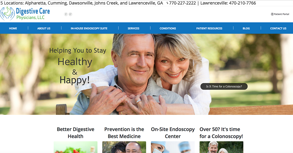 image of the home page for Digestive Care Physicians