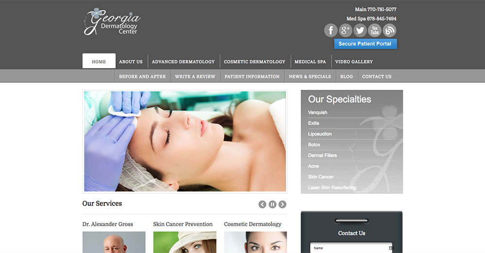 Abramson Facial Plastic Surgery Center website top of page 1