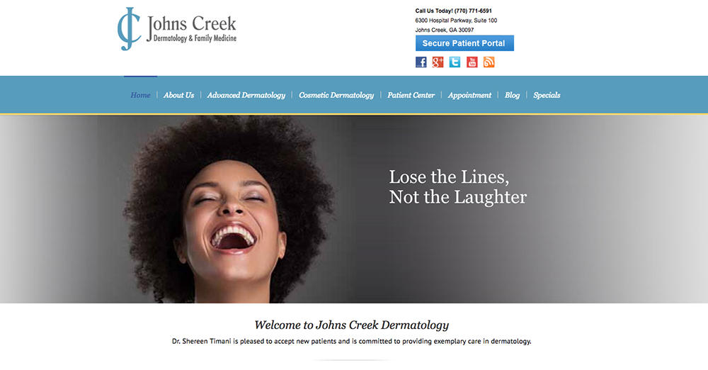 image of the home page for Johns Creek Dermatology