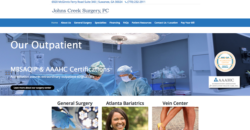 image of the home page for Johns Creek Surgery