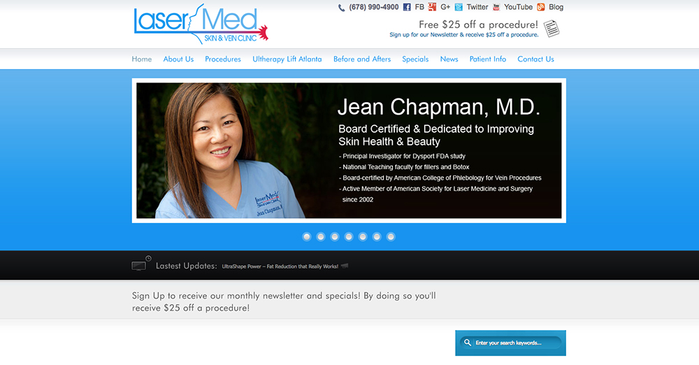 image of the home page for LaserMed Skin & Vein Clinic