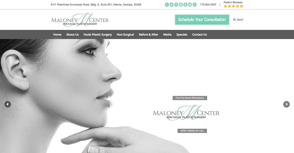 image of the home page for Maloney Center's website