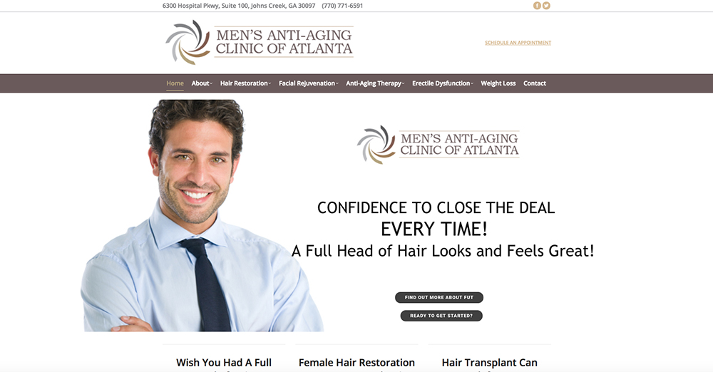 image of the home page for Men's Anti-Aging Clinic of Atlanta