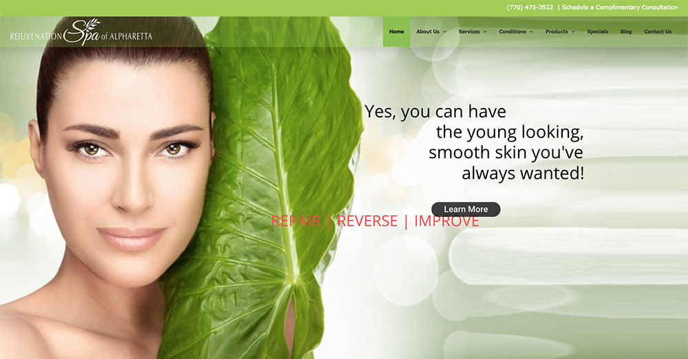 image of the home page of Rejuvenation Spa of Alpharetta