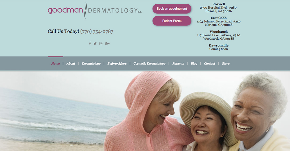 image showing a screen shot of the Goodman Dermatology's web home page