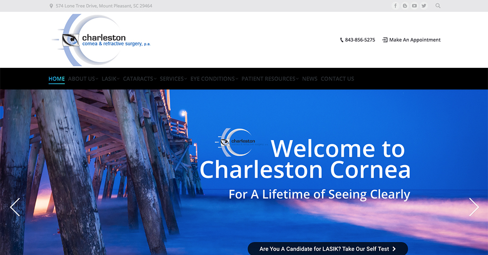 image showing a screen shot of the Charleston Cornea's web home page